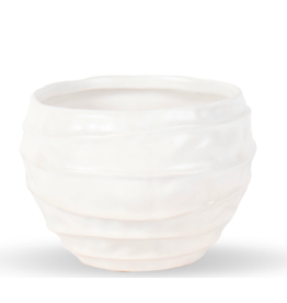"Decor Shop at Junebug Wavy White Ceramic Vase 4"" x 5"""