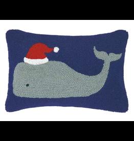 "Peking Handicraft Whale with Santa Hat Pillow 12"" x 18"""