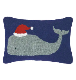 Peking Handicraft Whale with Santa Hat Pillow