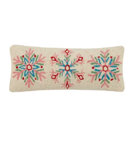 Peking Handicraft White, Pink and Blue Snowflake  Pillow