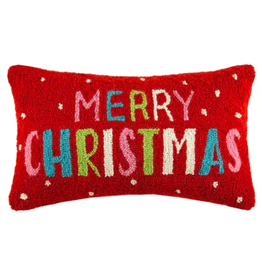 "Peking Handicraft Merry Christmas Cheerful Pillow 12"" x 20"""