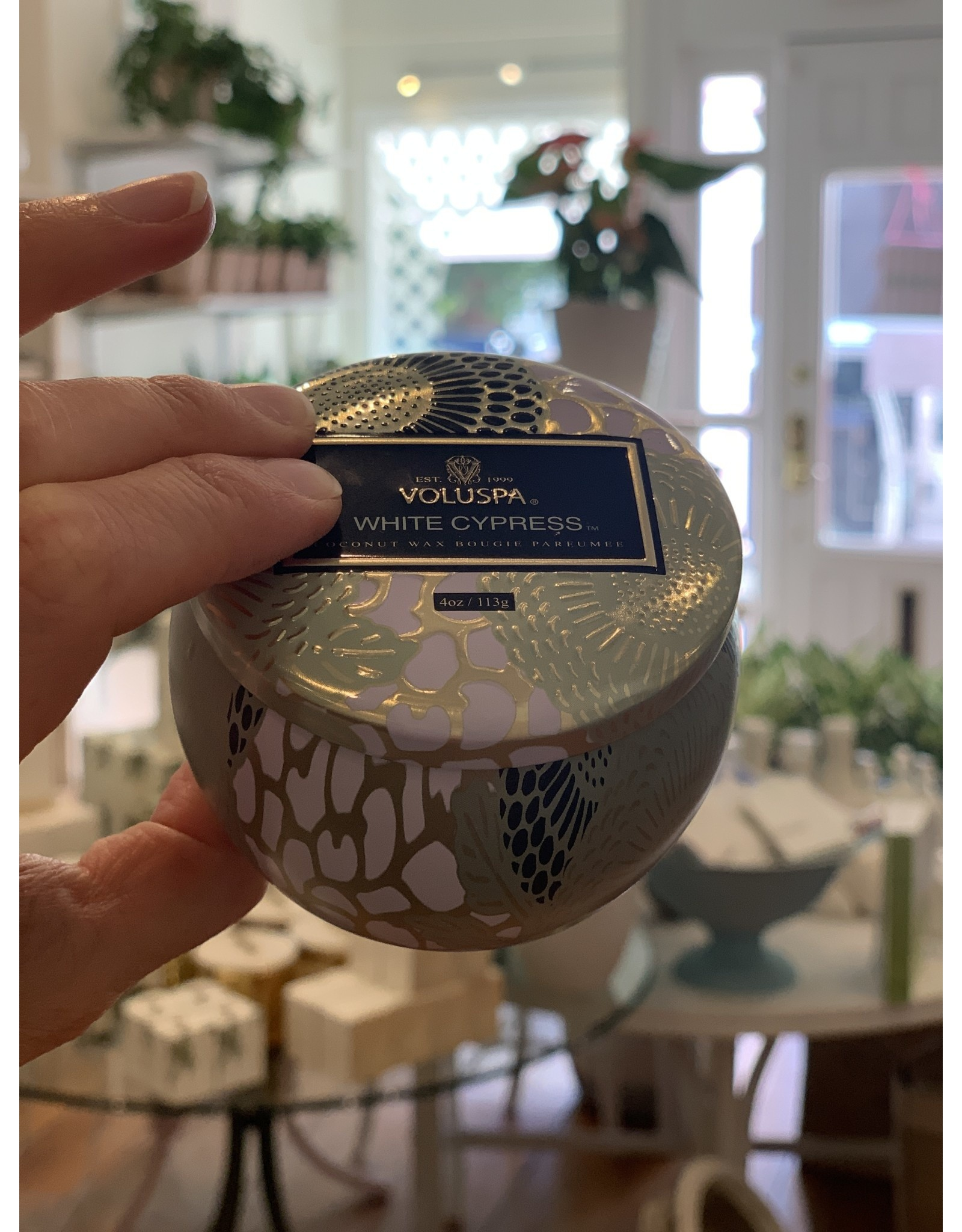 Voluspa White Cypress Petite Decorative Tin