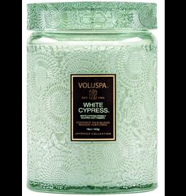 Voluspa White Cypress Large Glass Jar Candle