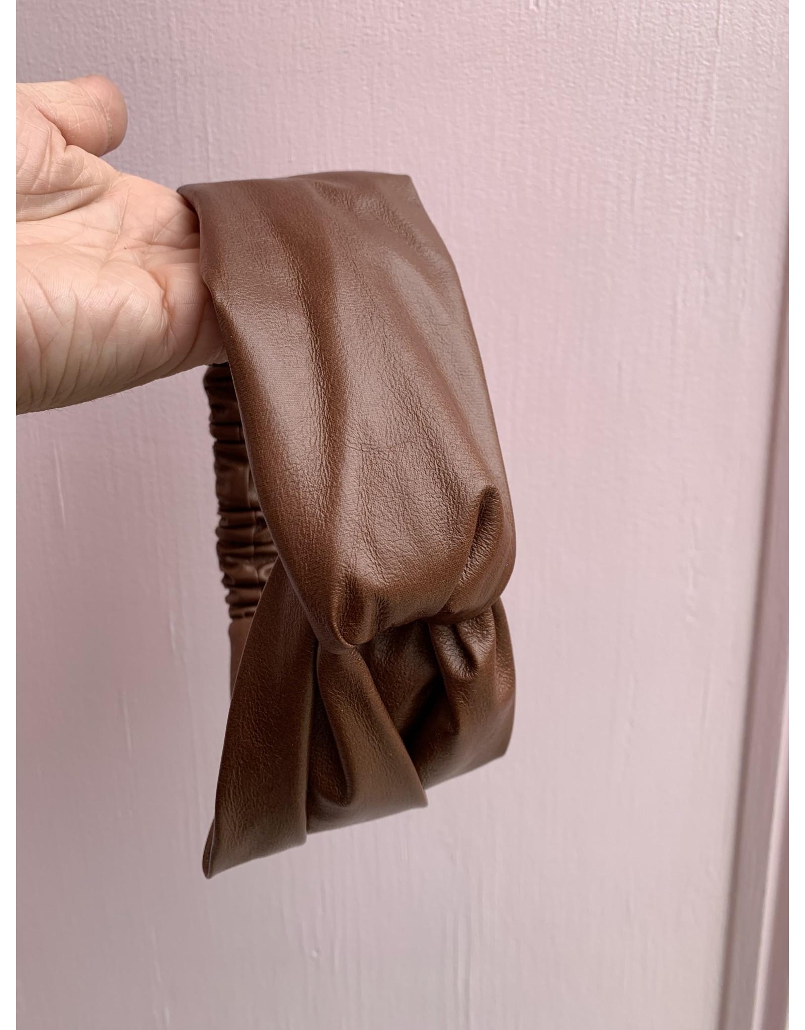 Brown Leather Elastic Headband