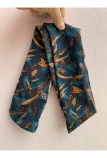 Silk Wired Headscarf in Teal & Leopard Stripes