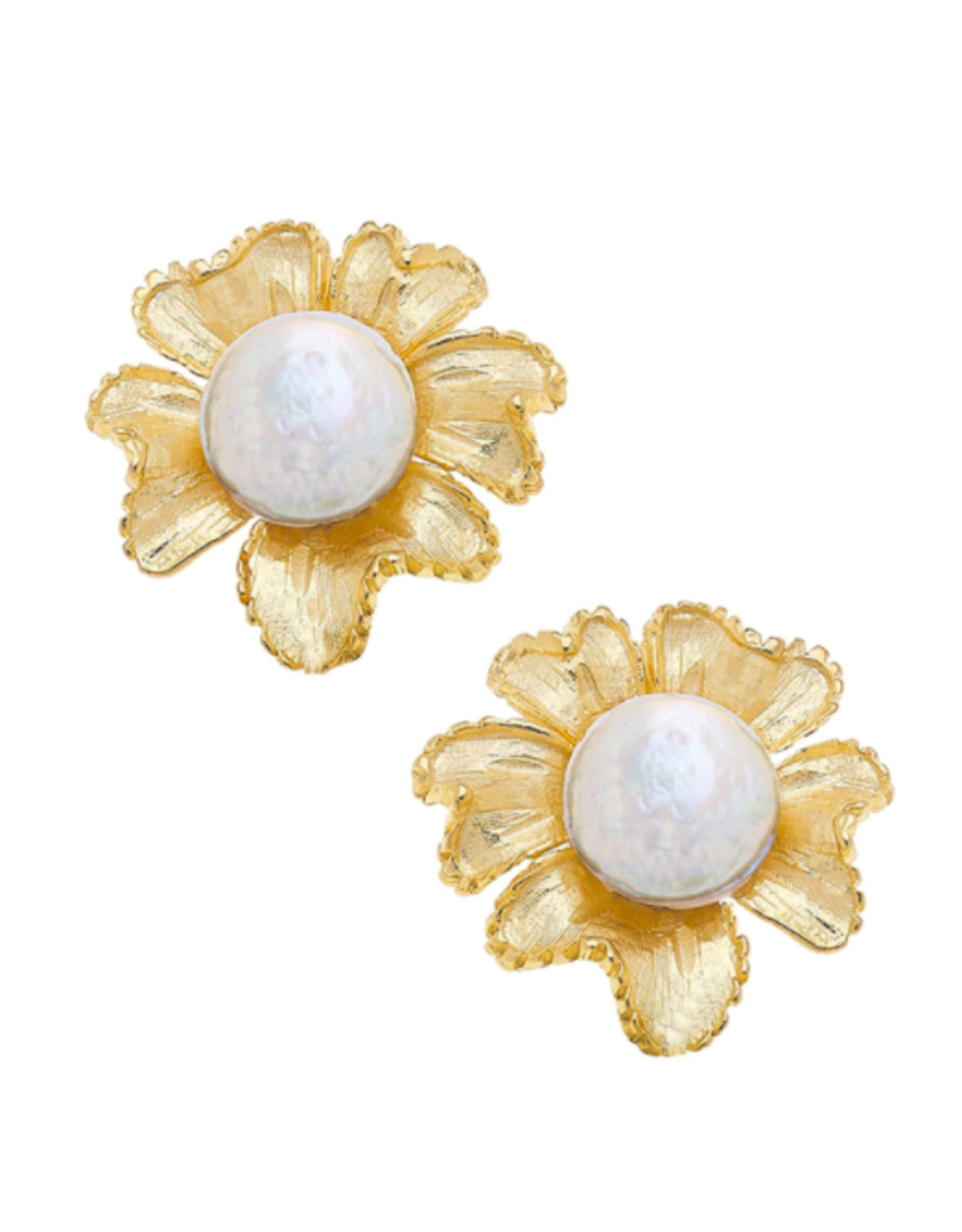 Susan Shaw Marigold Pearl Stud Earrings by Susan Shaw