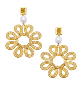 Susan Shaw Swirl Pearl Drop Earrings by Susan Shaw
