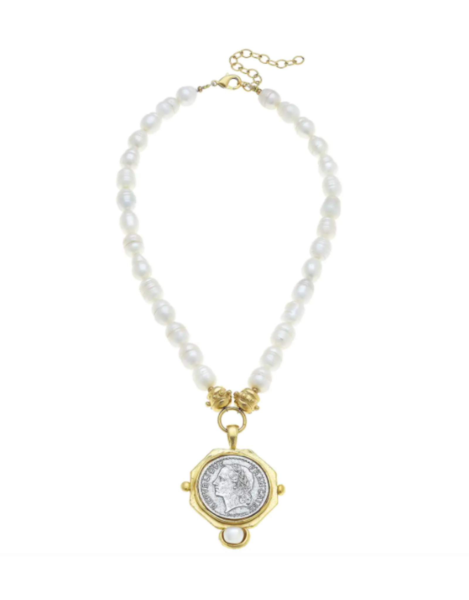Susan Shaw Gold and Silver Franc Drop Necklace by Susan Shaw