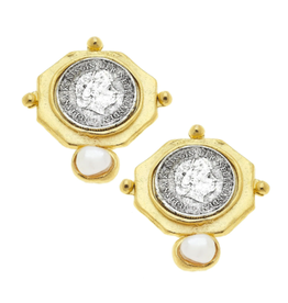 Susan Shaw Mixed Metal Octagon Franc Stud Earrings by Susan Shaw