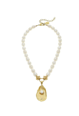 Susan Shaw Pearl Necklace With Gold Oyster and Pearl by Susan Shaw
