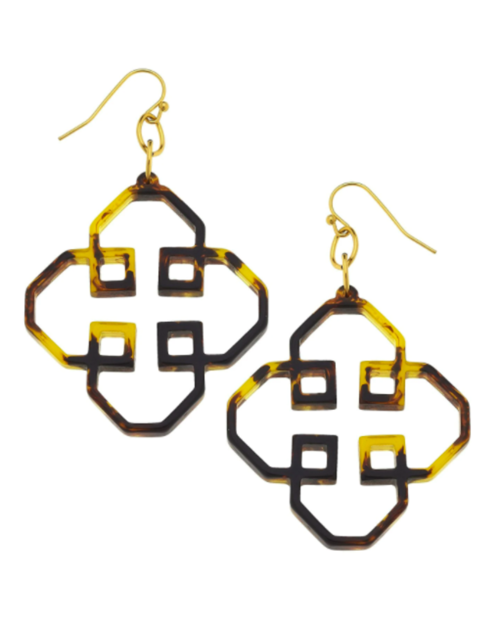 Susan Shaw Geometric Tortoise Earrings by Susan Shaw