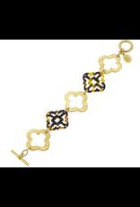 Susan Shaw Gold & Tortoise Clovers Bracelet by Susan Shaw