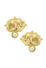 Susan Shaw Elephant Intaglio & Pearl Earrings by Susan Shaw