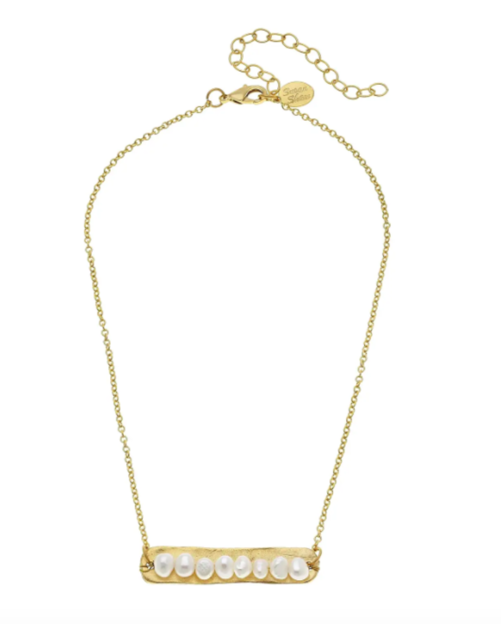Susan Shaw Pearls on Gold Bar Necklace by Susan Shaw