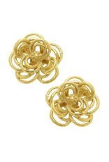 Susan Shaw Gold Open Flower Stud Earrings by Susan Shaw