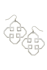 Susan Shaw Geo Outline Earrings in Silver by Susan Shaw