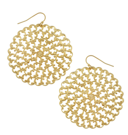 Susan Shaw Large Filigree Earrings in Gold by Susan Shaw
