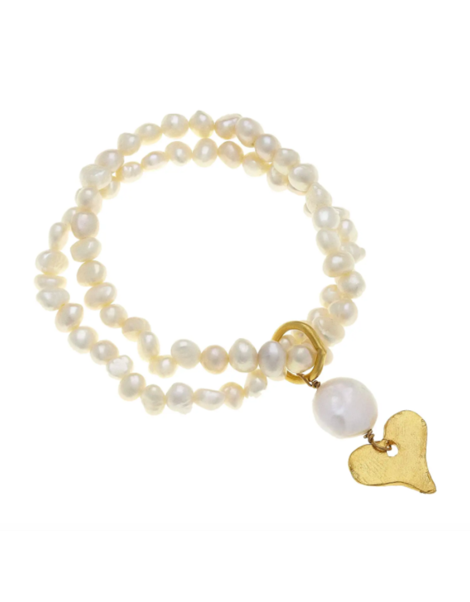 Susan Shaw Pearl Bracelet with Heart Charm by Susan Shaw