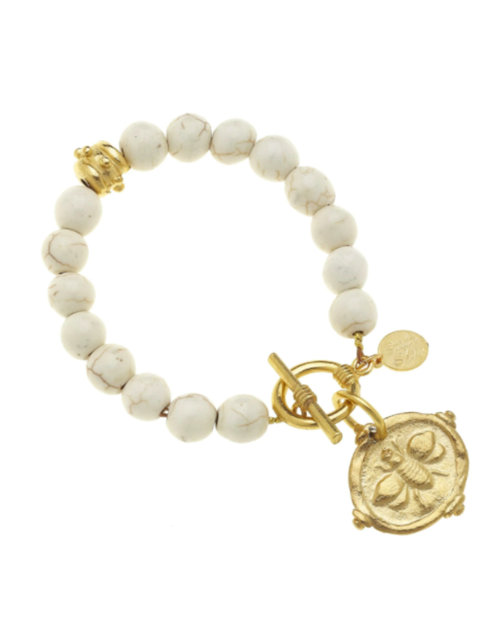 Susan Shaw Gold Bee Intaglio in White Turquoise Stone Bracelet by Susan Shaw