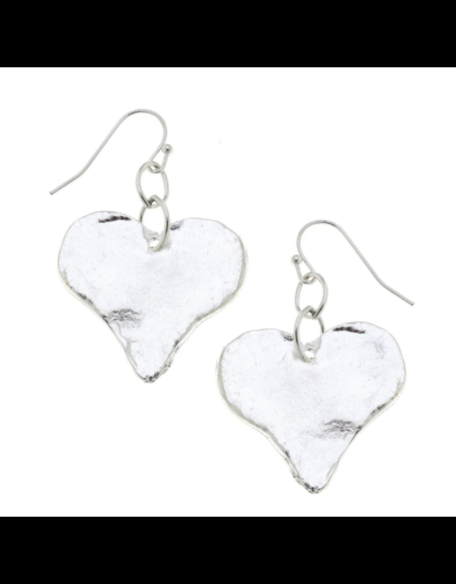Susan Shaw Heart Dangle Earrings in Silver by Susan Shaw