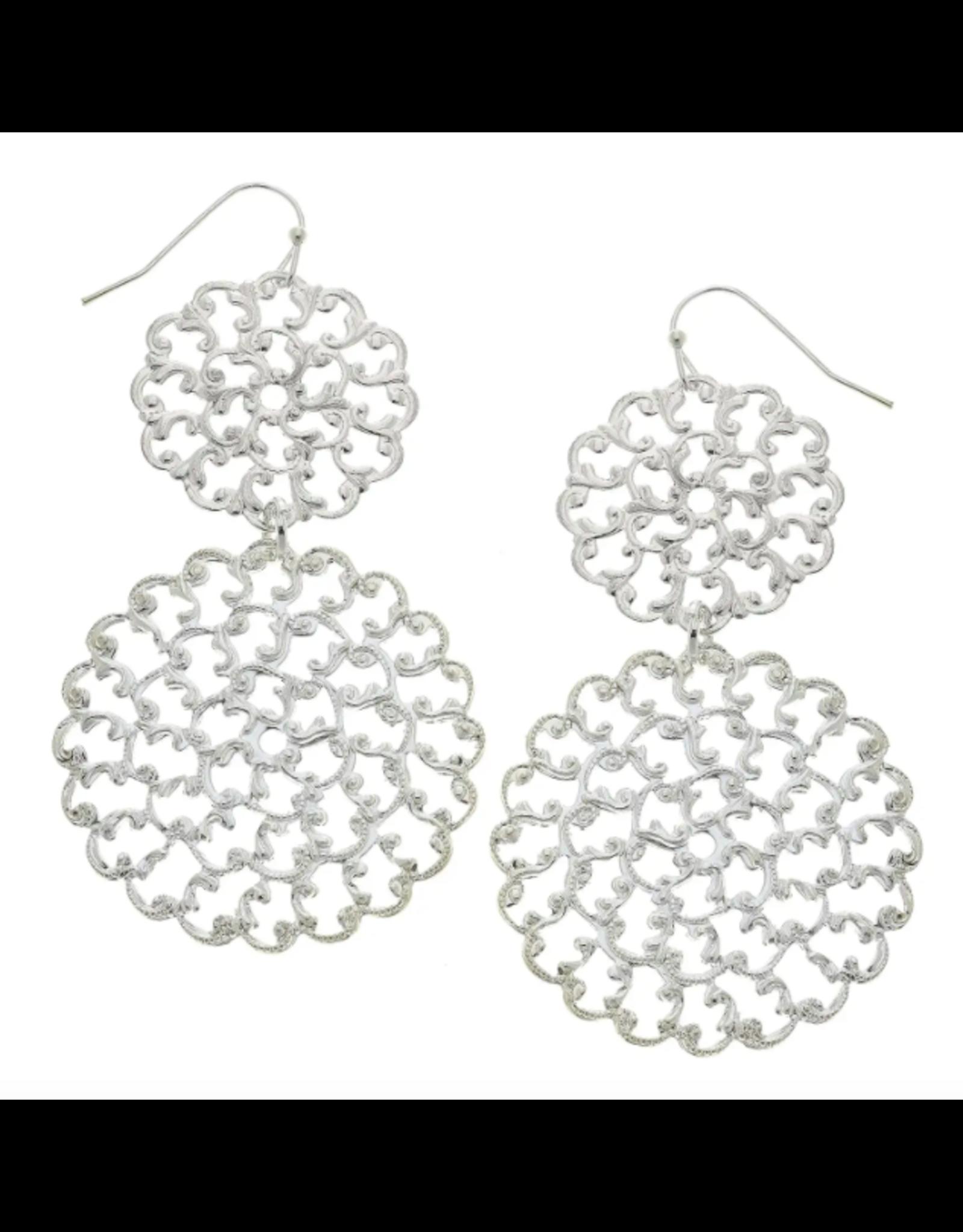 Susan Shaw Double Filigree Earrings in Silver by Susan Shaw