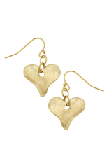 Susan Shaw Heart Dangle Earrings in Gold by Susan Shaw