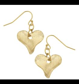 Susan Shaw Heart Dangle Earrings in Gold by Susan Shaw