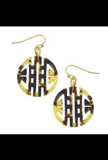 Susan Shaw Tortoise Medallion Earrings by Susan Shaw