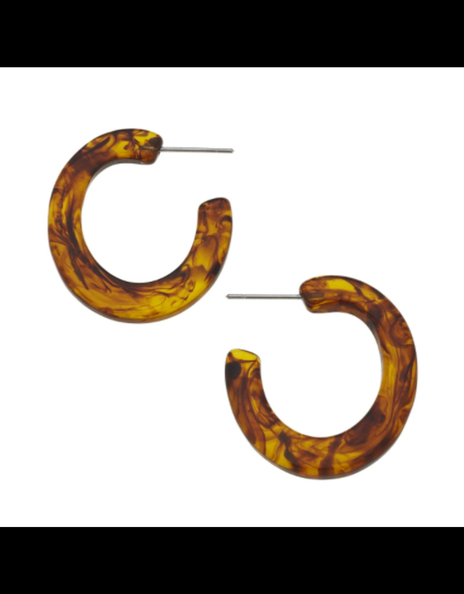 Susan Shaw Tortoise Flat Hoop Earrings by Susan Shaw
