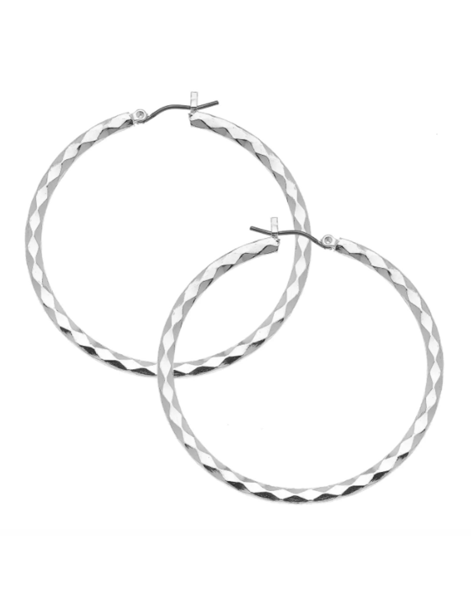 Susan Shaw Textured Silver Hoop Earrings by Susan Shaw