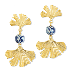 Susan Shaw Blue and White Ginkgo Earrings by Susan Shaw