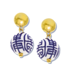 Susan Shaw Blue and White Margaret Drop Earrings by Susan Shaw