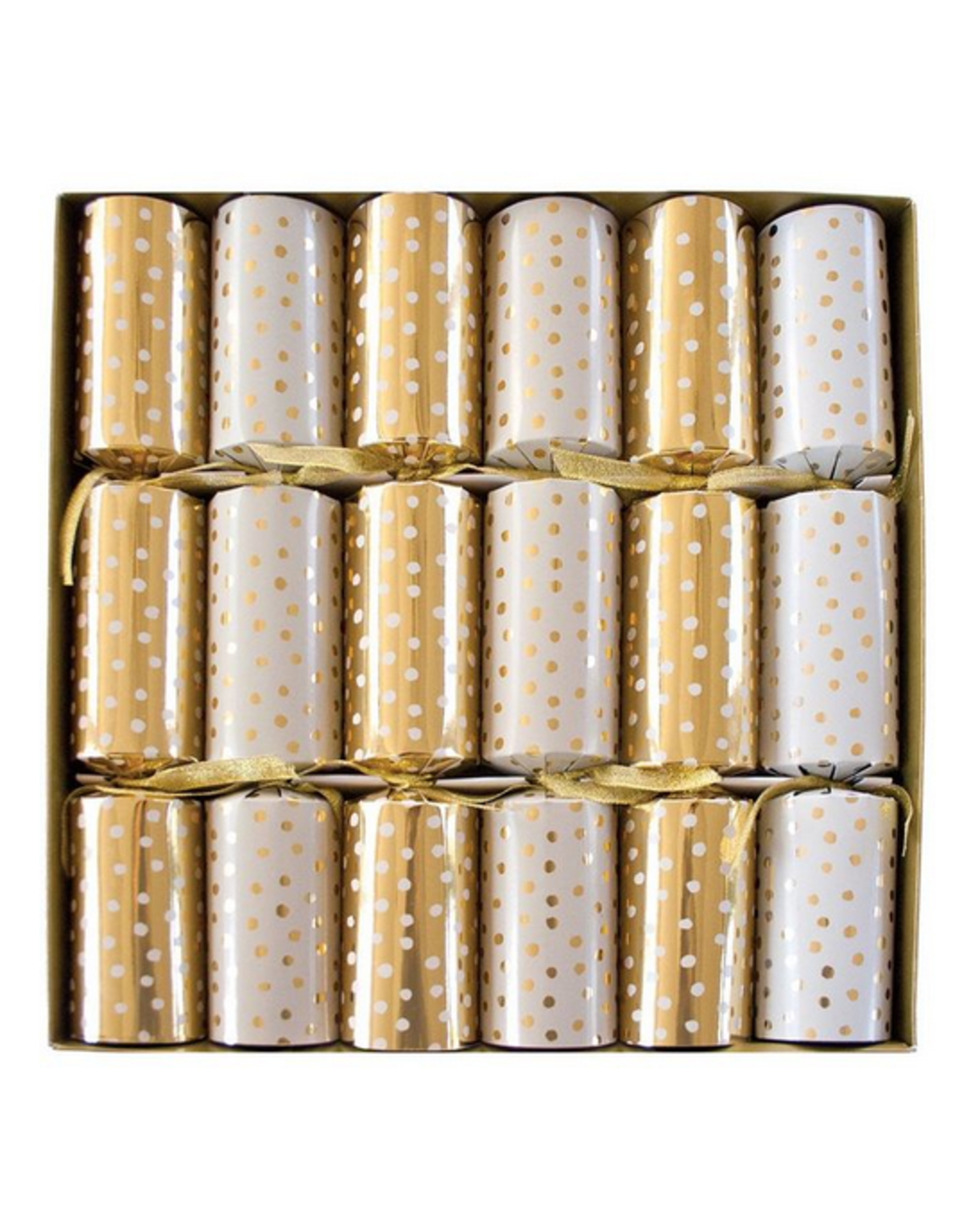 Caspari Small Dots Gold and White Christmas Crackers