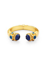Julie Vos Catalina Hinge Cuff Gold in Sapphire Size Small byJulie vos