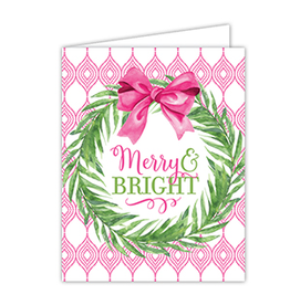 RoseanneBECK Collection Merry & Bright Wreath with Pink Bow Boxed Set