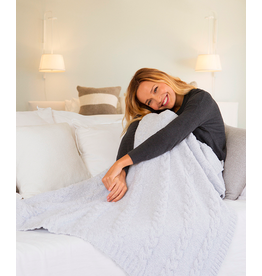 Barefoot Dreams CozyChic Heathered Cable Blanket in Ocean