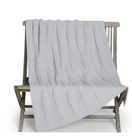 Barefoot Dreams CozyChic Heathered Cable Blanket in Oyster