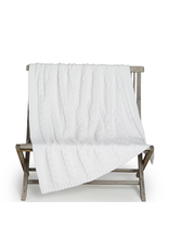 Barefoot Dreams CozyChic Heathered Cable Blanket in Pearl