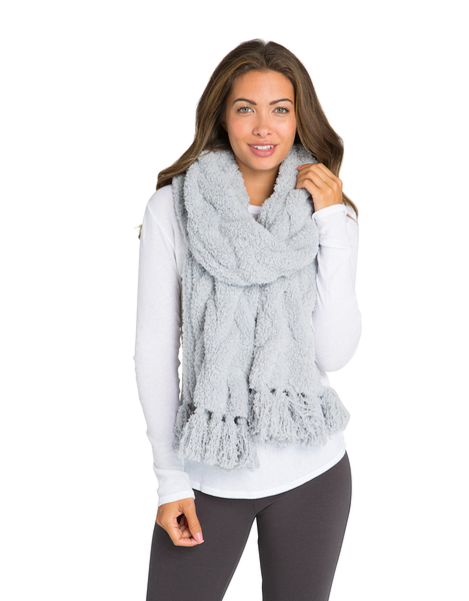 Barefoot Dreams CozyChic Cable Scarf in Ocean