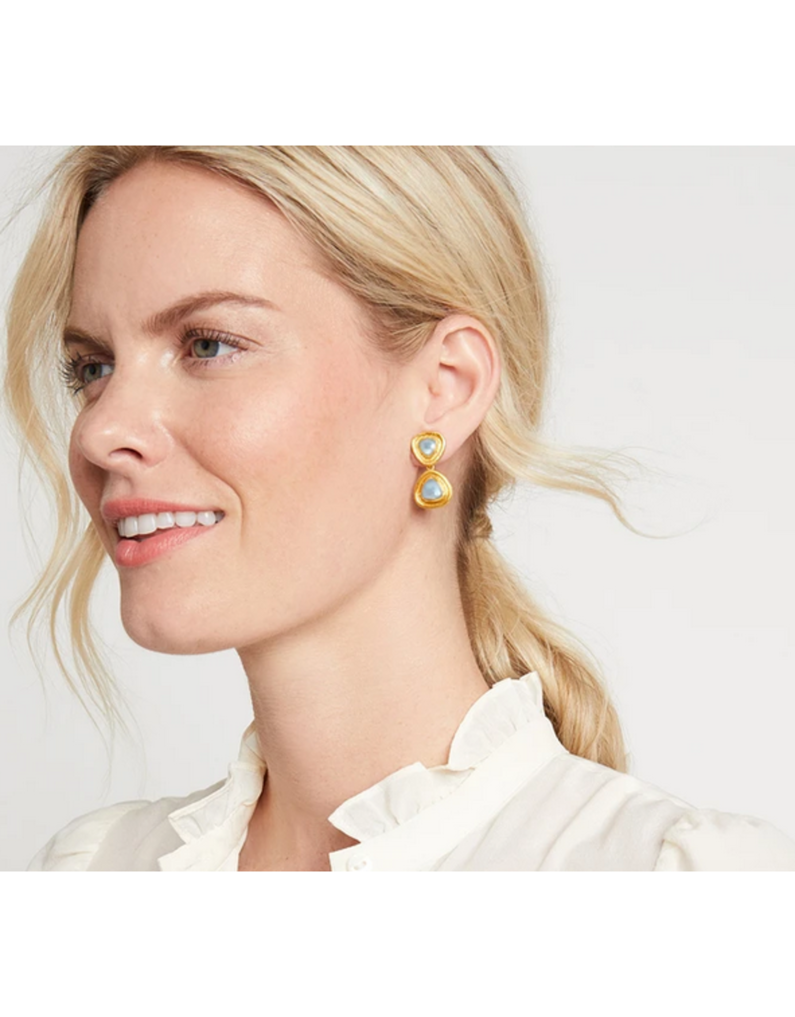 Julie Vos Barcelona Midi Earring in Chalcedony Blue by Julie Vos