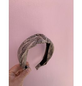 Knot Headband in Faux Snakeskin