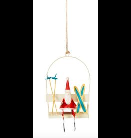 Santa on White Ski Lift Ornament