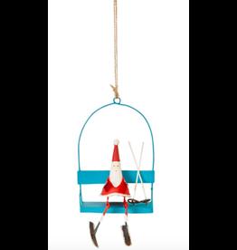 Santa on Blue Ski Lift Ornament