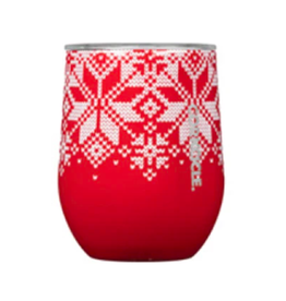 Corkcicle Stemless 12oz Fairisle Red