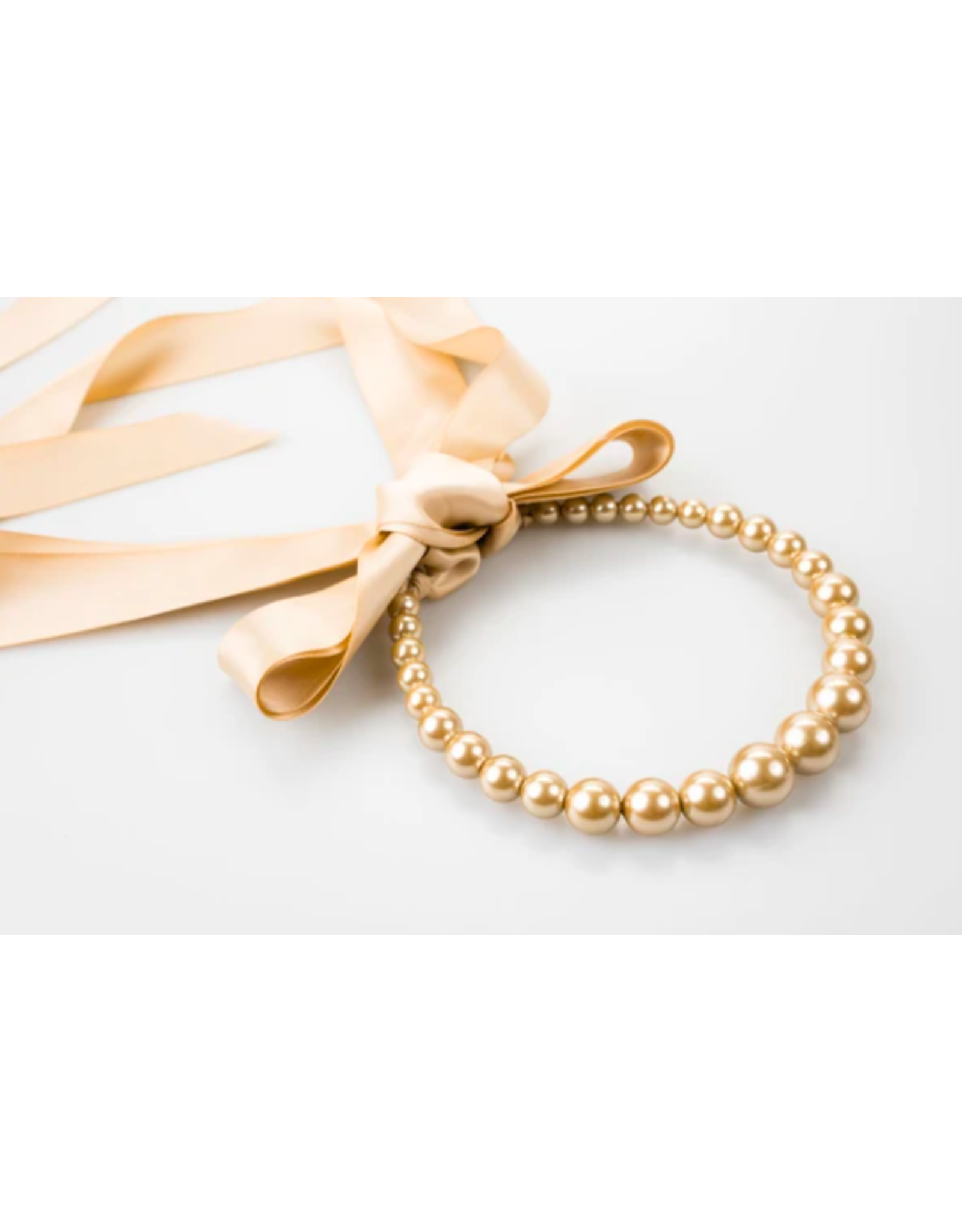 Pearl and Tan Ribbon Necklace + Headband