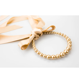 Pearl and Tan Ribbon Necklace + Headband
