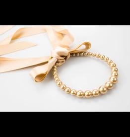 Violet & Brooks Pearl and Tan Ribbon Necklace + Headband