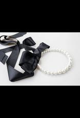 Pearl and Black Ribbon Necklace + Headband