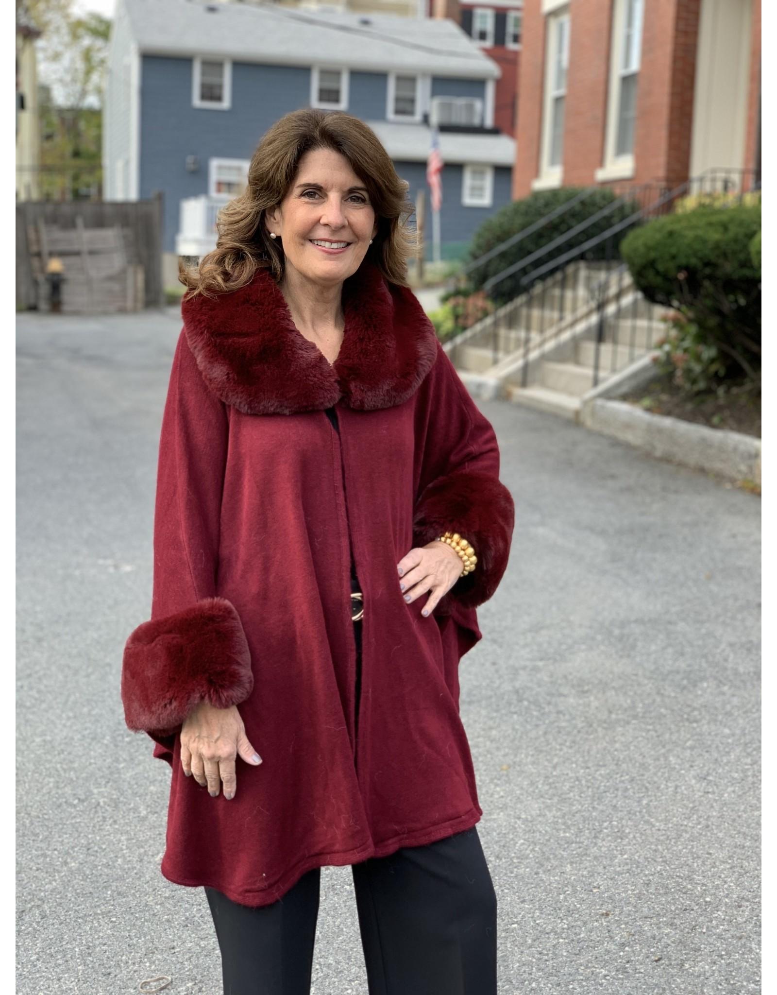 Fur Cape in Burgundy
