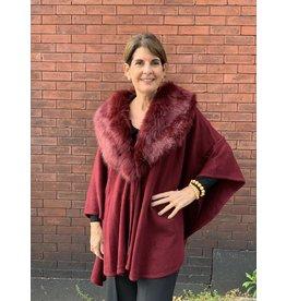Fur Wrap in Burgundy